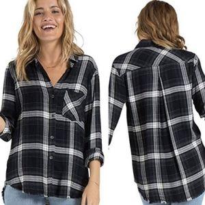 BELLA DAHL Frayed Hem Button Down Plaid Flannel